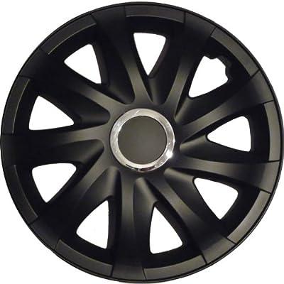Radkappen schwarz matt 14 Zoll 1 Satz (4 Stück) mit Chromring von NRM auf Reifen Onlineshop