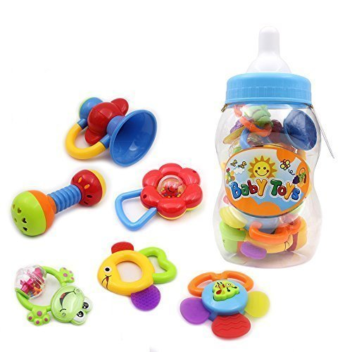 Wishtime-Babys-First-Rattle-and-Teether-Toy-9-Pieces-with-Giant-Baby-Bottle-Coin-Bank-Gift-Sets-Colors-May-Vary