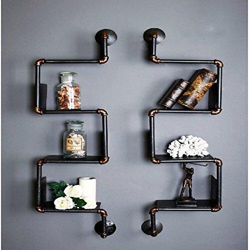 isasar DIY Industrial tubo diseño de tubo tubo de hierro estantería Retro estante de montaje en pared estante de libro de mesa de metal