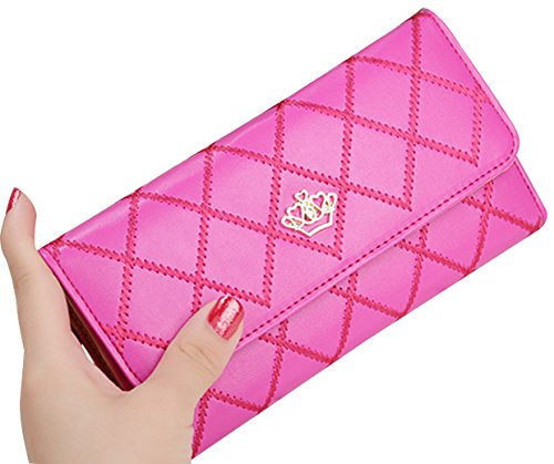 tina-womens-new-fashion-quilting-crown-long-wallet-purse-hot-pink
