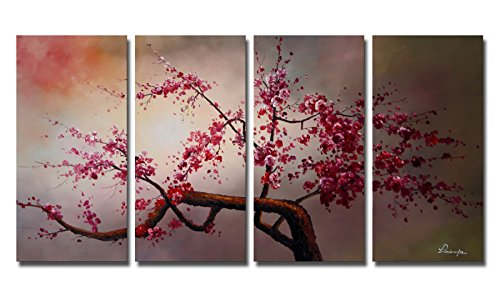 "Ode-Rin - 100% Hand Painted Oil Painting on Canvas Pink Plum Blossoms Framed and Stretched 4 Pieces Exuberant Tree Wall Art Painting for Living Room Home Decor, Ready to Hang - (12""x24"" x 4 Panels)"