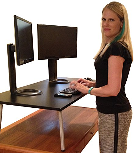 Mega Stand Steady Standing Desk / Stand Up Desk - Complete Desktop Replacement (Black)