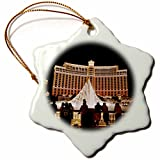 3dRose orn_92182_1 Nevada, Las Vegas, Bellagio Hotel and Casina-Us29 Bbr0061-Brent Bergherm-Snowflake Ornament, 3-Inch, Porcelain