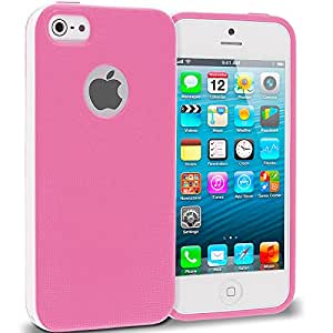 Accessory Planet(TM) Pink Hybrid TPU Bumper Hard Frame Case Cover for Apple iPhone 5 / 5S