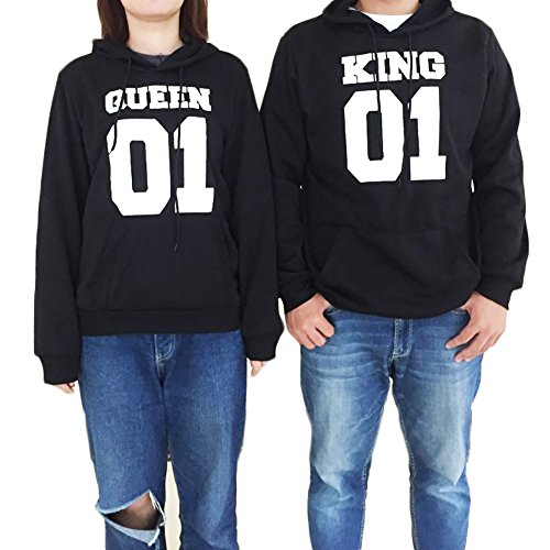 VICVIK Matching His & Hers Couple Hooded Sweatshirt Set - King 01 and Queen 01 (M, Men)