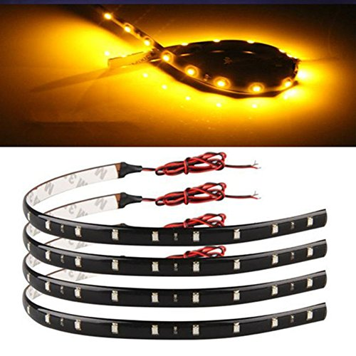 4 30cm 15 LED Flexible Car Auto Strip Neon Light Lamp Orange Color: orange, Model: