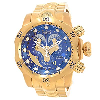 Invicta Venom Chronograph Blue Dial Gold Ion-plated Mnes Watch 14463