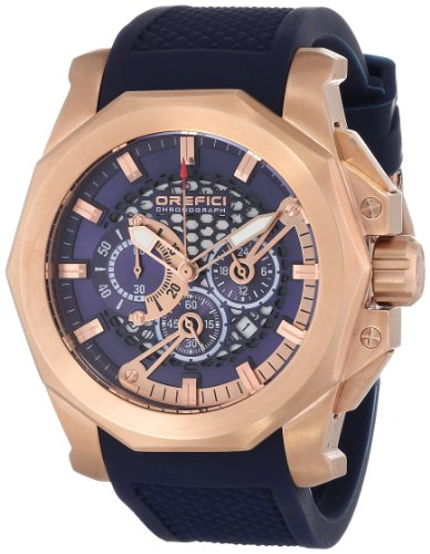 Orefici ORM2C4806 Men's Gladiatore Blue Dial Rose Gold Steel Blue Rubber Strap Chrono Watch