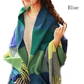 Chic Multicolored Check Scarves Wraps Wool Spinning Tassel Shawl Long Stole SC-0010