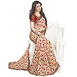 Pramukh saris Womens Georgette Thread Work Sari (Brown)
