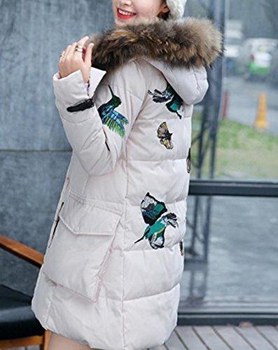 YCMDJ Stile nuovo inverno una parola stabilisce lungo il procione femmina giacca in ricamo farfalla Maoulen Cap plus dimensione cappotto , pink , s