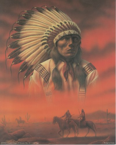 Chief Joseph with Riders Native American Art Print Poster (16x20)