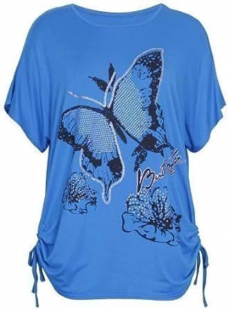 Purple Hanger - T-Shirt Femme Motif Papillon Fleur Manche Courte Chauve-Souris Encolure Rond Fronce Grand Taille Neuf - EU 52-54, Verre d'eau
