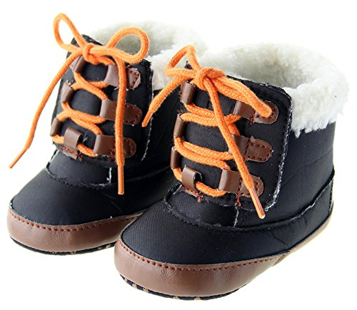 Kuner Baby Boys Plush Shoe Laces Warm Boots First Walkers Shoes (12 cm (6-12 Months))
