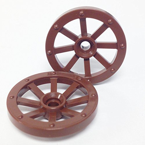 Lego Parts: Wagon Wheel - Small 27mm Diameter (PACK of 2 - Brown) - 1
