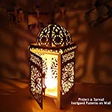 Ivenf Moroccan Style Matte Cream White Cast Iron Handmade Square Scrollwork Candle Lantern