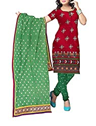 Shreya Fashion Women's Cotton Satin Unstitched Dress Material (VE003_Red_Free size)