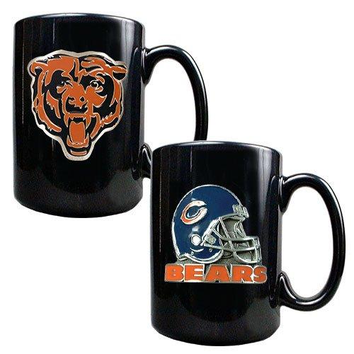 Nfl Chicago Bears Two Piece Coffee Mug Set- Primary & Helmet Logo