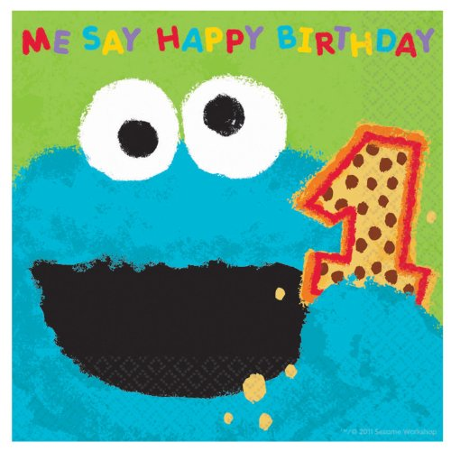 Sesame Street 1st - Cookie Monster Lunch Napkins (36 count)