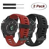 Garmin Fenix 3 Samartwatch bracelet, MoKo watch band flexible en silicone avec des outils pour Garmin Fenix 3   Fenix 3 HR Smart Watch, Noir et Cramoisi