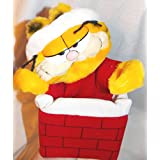"""Vintage 10"""" Plush Christmas Garfield The Cat In Chimney Hand Puppet Doll"""