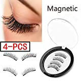 (4 Pieces) Magnet Eyelashes-Dual Magnetic False Eyelashes with NO GLUE 3D Fiber Reusable Best Fake Lashes Extension for Natural Look,Perfect for Deep Set Eyes (Color: Full Eyes)