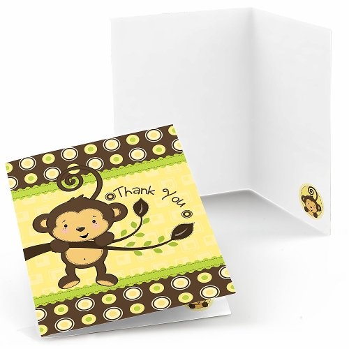 Monkey Neutral - Baby Shower Thank You Cards - 8 Ct front-110603