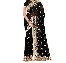 Women's Latest Designer printed Saree for Women By Maahi Fashion (black)