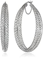 Sterling Silver Diamond Cut Mesh Click-Top Hoop Earrings from Athra NJ, Inc.