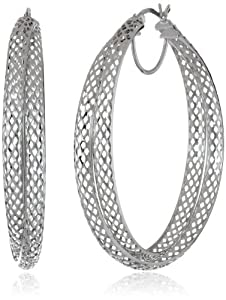 Sterling Silver Diamond Cut Mesh Click-Top Hoop Earrings from Athra NJ, Inc.