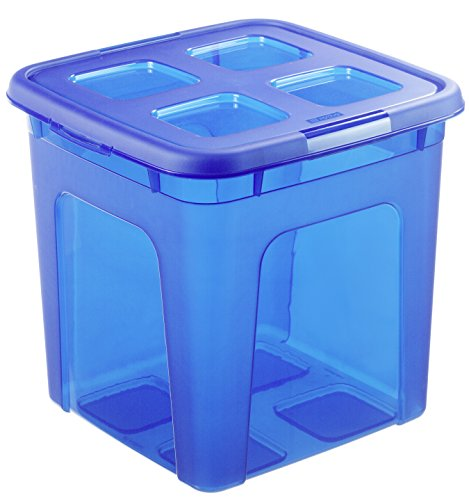 Aufbewahrungs-box TOY BOXX mit Deckel in blau, quadratische Spielzeugbox aus Kunststoff, Inhalt 30 Liter, Plastikkiste ca. 37 x 37 x 36 cm
