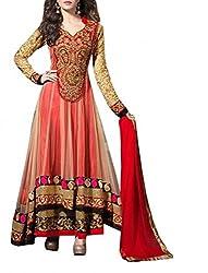 Dipak Fashion New Designer Red Fancy Embroidery Net Salwaar Suit For Women
