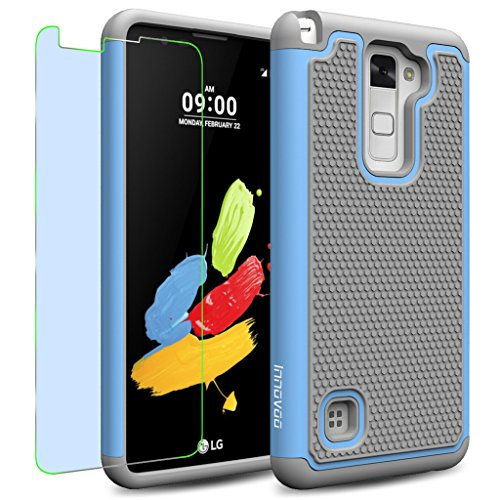 LG Stylus 2 / LS775 / K520 Case, INNOVAA Smart Grid Defender Armor Case W/ Free Screen Protector & Touch Screen Stylus Pen - Grey/Light Blue