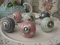 Set of FOUR pink/pale green/grey (you choose mixed or one colour!) polka dot spot/stripe ceramic KNOB handle pull for furniture (drawers, cupboard doors etc) exclusively sold by Vintage Pink