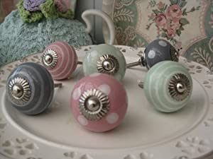 Set of SIX pink/pale green/grey (you choose mixed or one colour!) polka dot spot/stripe ceramic KNOB handle pull for furniture (drawers, cupboard doors etc) exclusively sold by Vintage Pink (TM)