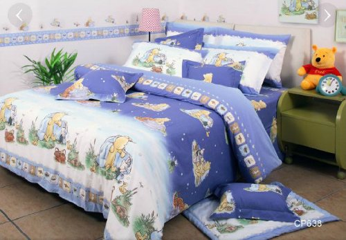 Disney Classic Winnie The Pooh Cp638 Fitted Bed Sheet, Pillow Case & Duvet Cover (330 Threads / 10Cm Squared) 100% Cotton front-207881