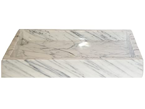 Rectangular Vessel Sink - White Carrara Marble