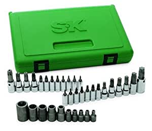SK 19763 35-Piece 1/4-Inch, 3/8-Inch and 1/2-Inch Drive TORX Bit Socket SuperSet