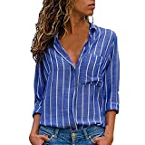 WEUIE Clearance Womens Clothing Women Button Striped Casual Top T Shirt Ladies Loose Long Sleeve Top Blouse