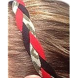 It S Ridic No Slip Grip Non-Slip Sports Athletic Nylon Triple Braided Sports Headband Red | Black | Grey Pattern