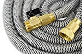 25' Expanding Hose Titan Expandable Garden Hose Solid Brass Connectors Double Layer Latex Core Extra Strength Fabric 3/4 USA Standard Expandable Flexible Water Hose
