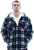 Moda Essentials Men's Plaid Zip Up Sherpa Hooded Sweatshirt Flannel