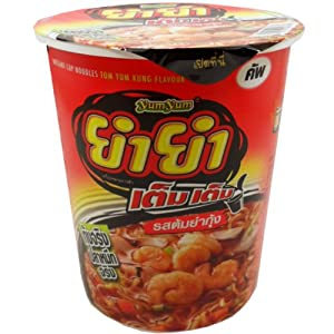 Yum-Yum Instant Cup Noodles Tom Yum Kung (Shrimp) Flavour Thai Original Spicy Net Wt 60 g (2.11 Oz) x 6 cups from Wan Thai Foods Industry Co.,Ltd. Thailand.