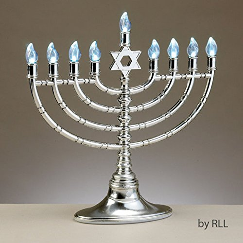 "11.75"" Traditional Style Silver Tone Led Electric Chanukah Hanukkah Menorah"