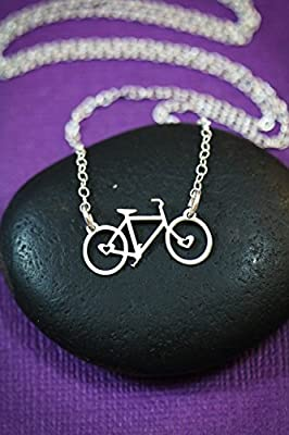 Bicycle Charm Necklace - IBD - Sterling Silver 14K Gold Filled Bike Bar Pendant - 1 Inch x .5 Inch