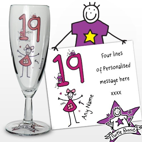 Purple Ronnie Personalised Glass Champagne Flute Great Present Idea 18th 21st 30th Birthday or Anniversary Gift