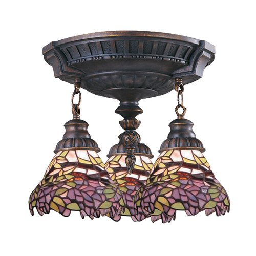 Landmark 997-AW-28 Mix-N-Match 3-Light Semi-Flush Mount, 16-Inch, Aged Walnut with Lilac Tiffany Shades