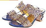 Youchan(ヨウチャン) レディース きらきら フラワー チョウ 太ヒール サンダル オープントゥー パンプス 美脚 シンプル ハイヒール 靴 (24.0cm,1518ブルー)