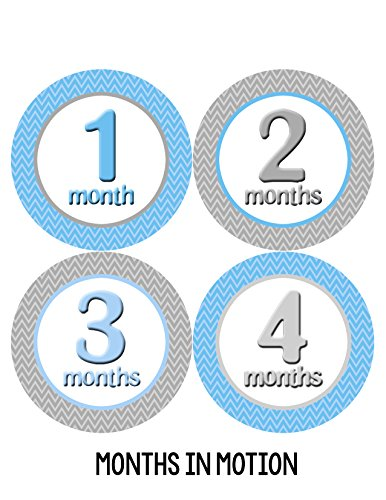 Months in Motion 009 Monthly Baby Stickers Baby Boy Months 1-12 Milestone - 1