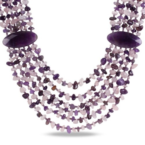 6 Strand Mixed Purple Agate, Amethyst and Rose Quartz Chips Bead Necklace, 24